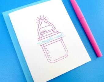 the snuggle is real baby letterpress card