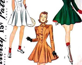 RARE 1940 Tennis and Skating Outfits with Cap Simplicity Pattern 3533 Size 14 Size: 32-27-35 Factory Folded