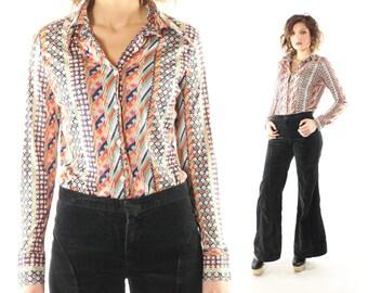 Vintage 70s Wrangler Shirt Long Sleeve Button Up Southwestern Aztec Print 1970s Medium M Hippie Boho Festival
