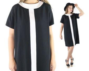 Vintage 60s Mod Shift Dress Plus Size Black White Short Sleeve 1960s XL Large L