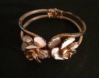 Vintage Floral and Enamel Hinged Gold Tone Bracelet