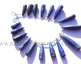 Lapis Lazuli Smooth Long Drops (Quality A+) / 7.5x23 to 5.5x41 mm / 18 cm / LA-040
