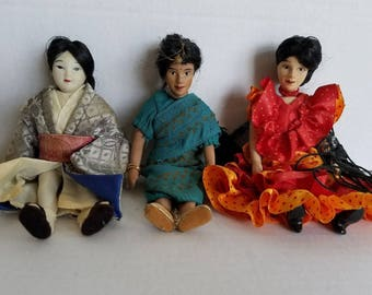 Vintage Trio of Small Porcelain Dolls...Spanish, Indian, Japanese