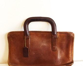 vintage coach portfolio handbag, leather coach purse, dark brown