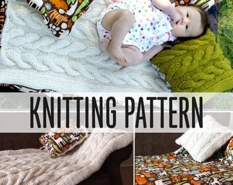 Chunky Baby Blanket Easy Illustrated Knitting Pattern PDF Great for ADULT Blankets Too, Make Any Size