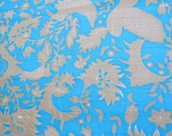 "1960s Vintage Fabric - Gold Botanical Print on Blue - 2 1/2 yards x 42"" wide"