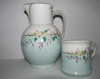 Antique Haviland Limoges Porcelain Pitcher And Mug Charles Field Haviland 1890's
