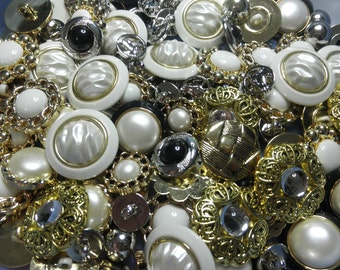 Buttons Galore Craft and Usage Button, Gold/Silver, Pack of 100 New Old Stock