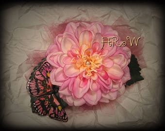 Pink Dahlia fascinator with butterfly