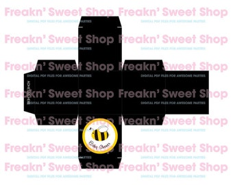 "Baby Shower Bee 2""x2"" Black Box Digital PDF file"