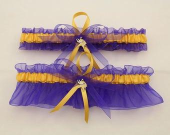 Minnesota Vikings Inspired Wedding Garter with Charms, Bridal Garter, Prom Garter  (Your Choice, Single or Set)