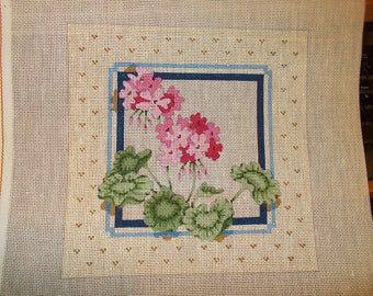 Pink Flowers Needlepoint Canvas Handpainted signed by artist
