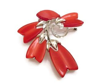 Lisner Red Lucite Flower Brooch - Early Plastic, Poinsettia Flower, Silver Metal, Vintage Brooch, Vintage Jewelry