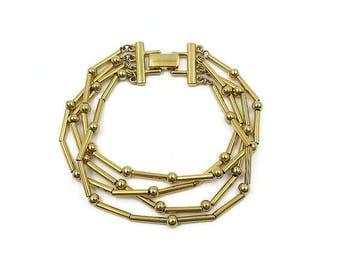 Monet Gold Multi Strand Tube Ball Bead Bracelet - Vintage Bracelet, Statement Jewelry, Vintage Jewelry