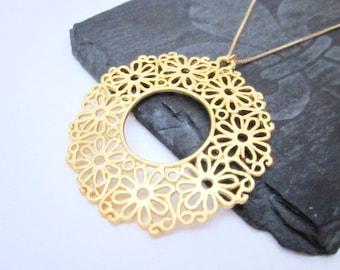 Large Gold Pendant Necklace -- Gold Filigree Necklace -- Wheel Necklace -- Large Layering Necklace -- Large Gold Flower Necklace -- Hoop