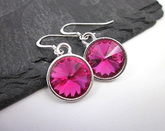 Silver & Fuchsia Earrings -- Fuchsia Swarovski Crystal Earrings -- Fuchsia Dangles -- Fuchsia Crystal Earrings -- Fuchsia Drop Earrings