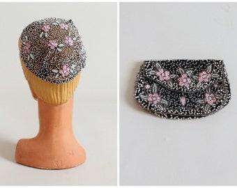 1930s Floral Beaded Cap and Dance Purse