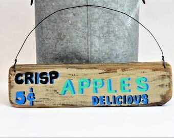 Apples Sign - Kitchen Wall Hanging - Mother's Day Gift - Primitive/Folk Art - Wood Apples Sign - Fruit - Rustic Country - Crisp Delicious