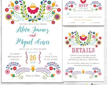 Fiesta Wedding Invitations / mexican wedding invitations / printable wedding invites / printed wedding invites