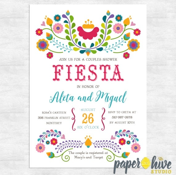 Fiesta Couples Wedding Shower Invitations