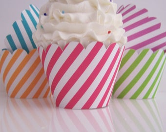 25 Candy Stripe Cupcake Wrappers Carnival, Circus, Sesame Street, Artist Party...Fully assembled
