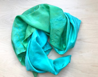 Silk Scarf in Hand Dyed Aquamarine and Emerald