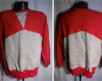 Mens Brents Brand Usa made Reproduction of a Vintage Sweatshirt sz XL - Gray w Red Across Shoulders (20 % DISCOUNT APPLIED)