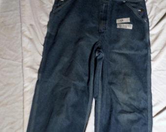 133 Unisex Older Vintage Roebucks Mens Faded Dark Blue zip fly Denim 34 x 28 Carpenter Usa made bibs Overalls