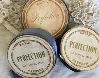 Three Rolls Vintage Silk Satten Perfection Ribbon Great Graphics