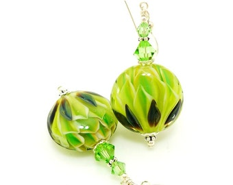 Green Earrings, Glass Earrings, Lampwork Earrings, Glass Beads Jewelry, Beadwork Earrings, Unique Earrings, Lampwork Jewelry