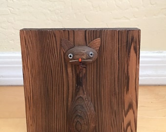 Vintage Wooden Bookend Cat Sculpture Woodcraft Home Decor