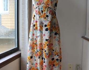Vintage Halter Top Floral Maxi Dress, Large Size 60's, 70's, Boho, Hippie, Bohemian,
