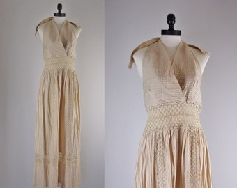 1970s Vintage Mexican Dress / 70s Rare Mexican Halter Dress /  Mexican Wedding Dress