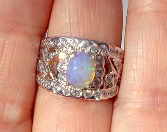 Sz 7.5,Natural Welo Opal,Wide Band Ring,Sterling Silver,CZ Accents,Filigree Setting,Beautiful Color Play, Blue, Lavender, Green Fire, OOAK