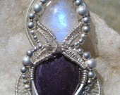 Moon Goddess ///Sugilite, Moonstone, and Sterling Silver Wire Wrap Pendant, One of a Kind, Handmade, Art