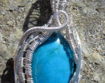 Southwestern Treasure///Rare Bisbee Blue Turquoise, and Sterling Silver Wire Wrap Pendant, One of a Kind, Handmade, Art