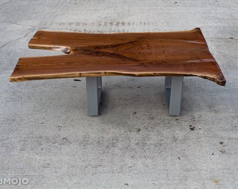 IN STOCK ready to ship Steel Base Coffee Table - Live edge bench - Acero - Solid Walnut Occassional - Handmade in the USA
