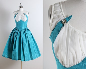 Vintage 50s Dress | vintage 1950s dress | taffeta party dress xs | 5774