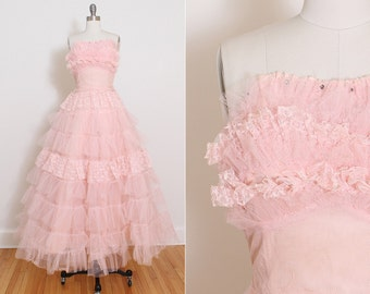 Vintage 50s Dress | 1950s party dress | pink rhinestone tulle lace | xs | 3832