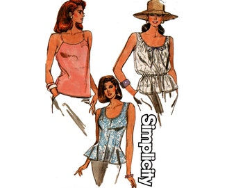 Simplicity 9203 Womens Camisoles & Sleeveless Summer Tops 80s Vintage Sewing Pattern Size 8 10 12 14 UNCUT Factory Folds