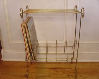 Vintage 1950's/1960's  Gold Metal Record Rack