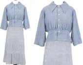 Edwardian Striped Chambray Work Blouse, Antique Pin Stripe Shirt, 1900s 1910s Cotton Top, Large