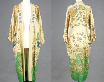 1920s Kimono, 20s Pongee Silk Robe, Antique Japanese Dressing Gown