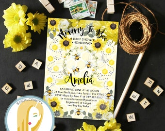 Bumble Bee Baby Shower Invitation, Bee Invitation, Bumble Bee Invitation, Gender Neutral, Sunflower, DIY, Printed or Printable Invitations