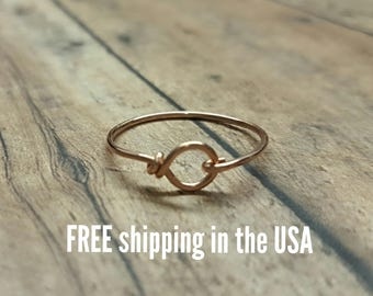Rose gold ring stackable FREE SHIPPING rose gold filled circle buckle