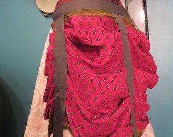 Pink and green blockprint Sari bustle,one size,  steampunk, victorian, bellydance