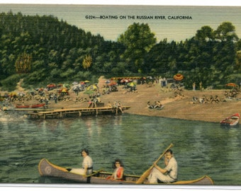 Boating Canoeing Russian River California 1951 linen postcard