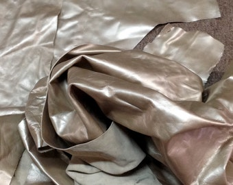BASK291. Champagne Pacakge of 3 Leather Cowhide Remnants