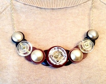 Pearl & Glass button necklace