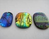 Three Colourful Mardi Gras, Free-form Dichroic Cabochons